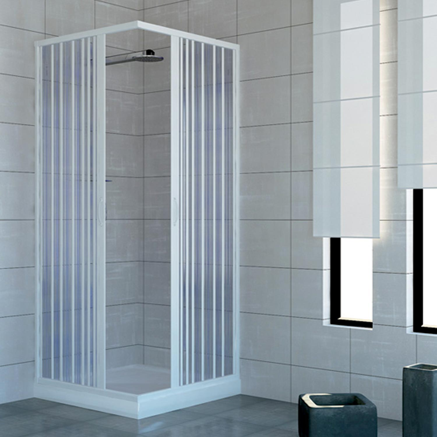 shower enclosure walk in quadrant cubicle plastic pvc folding doors 14 colours ebay. Black Bedroom Furniture Sets. Home Design Ideas