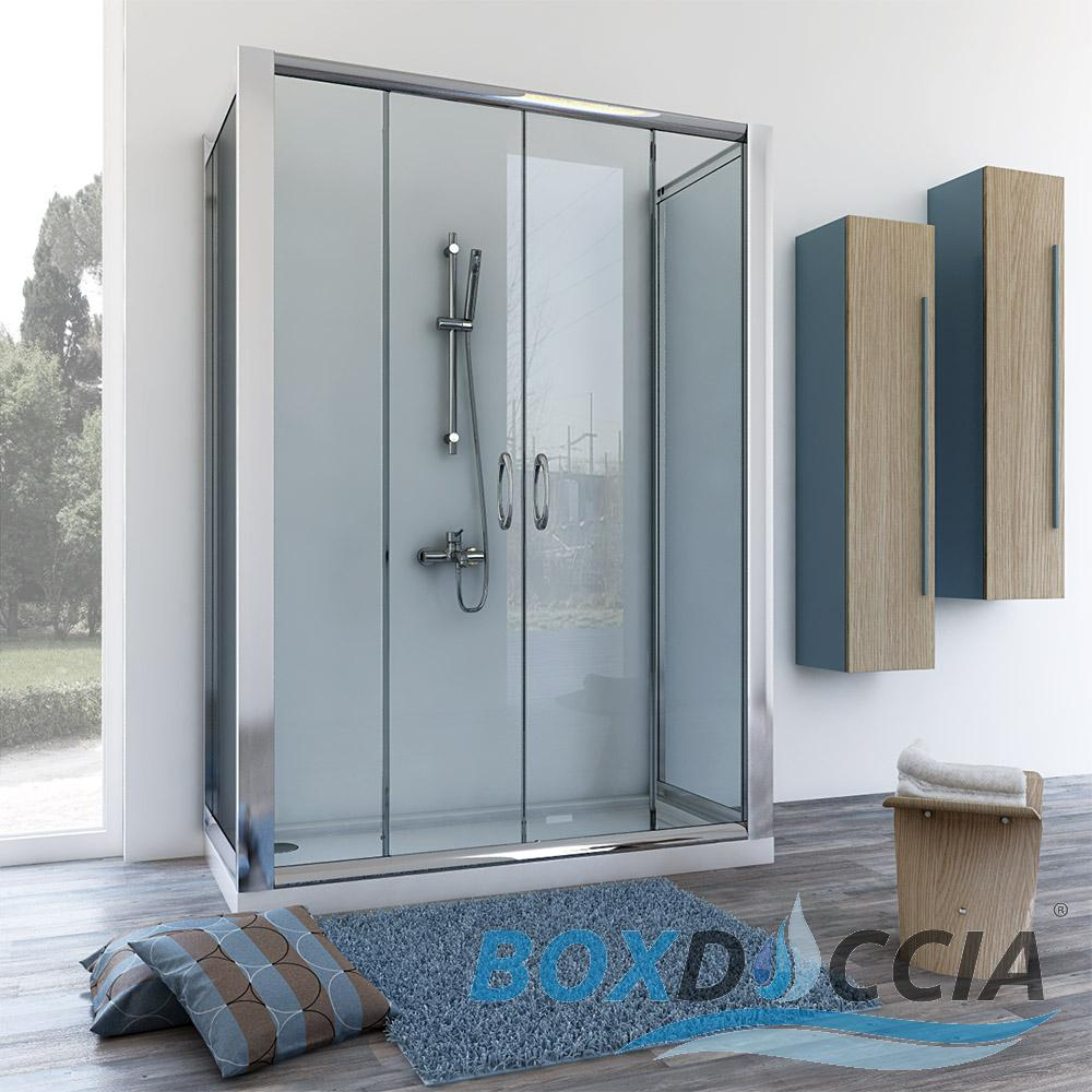 Shower Enclosure 3 Sided Sliding Door Corner Entry Cubicle