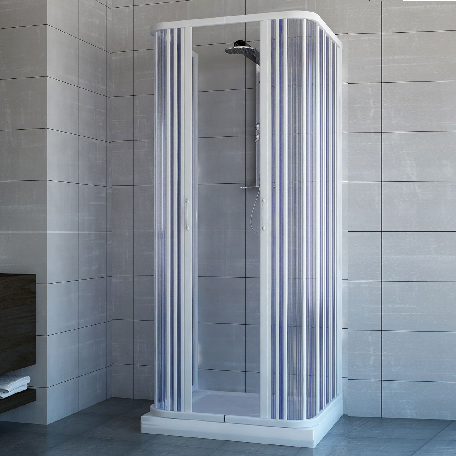 shower enclosure 3 sided central open quadrant cubicle plastic pvc folding doors. Black Bedroom Furniture Sets. Home Design Ideas