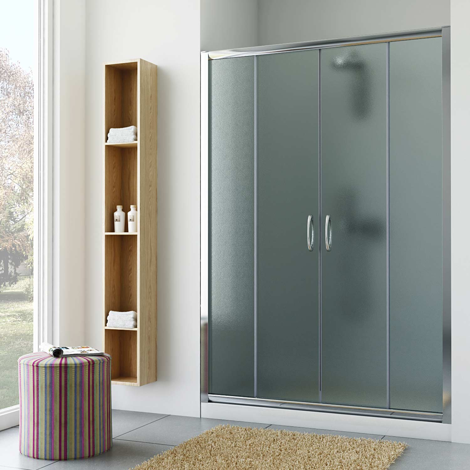 Walk in shower sliding double door enclosure clear for 1300 mm sliding shower door