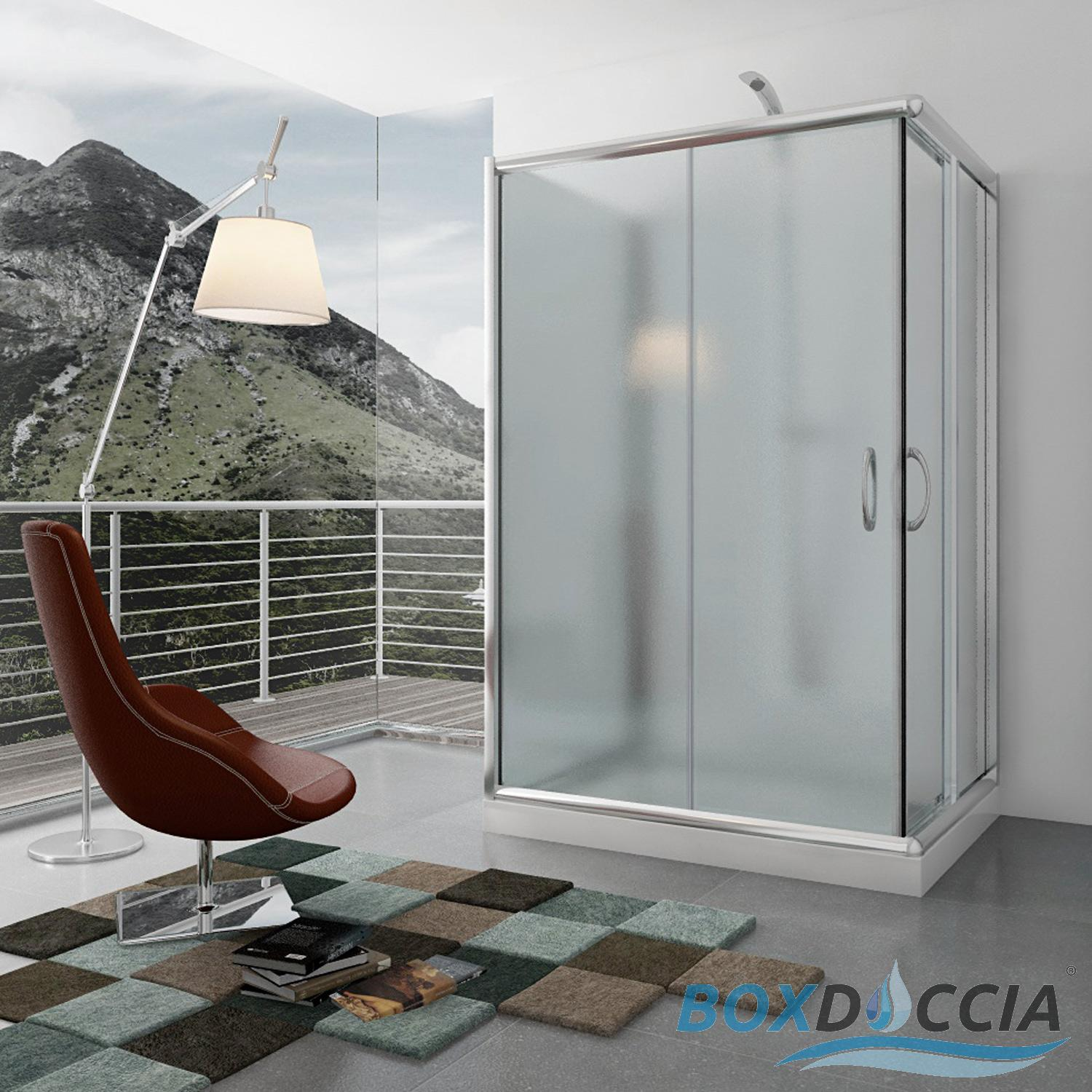 SHOWER ENCLOSURE 3 SIDED SLIDING DOOR CORNER ENTRY GLASS CUBICLE ...