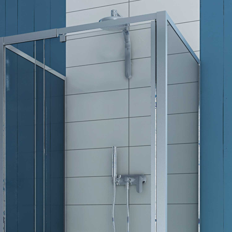 duschkabine duschabtrennung u form echtglas pendelt r 2 seitenw nden 80x80 h200 ebay. Black Bedroom Furniture Sets. Home Design Ideas
