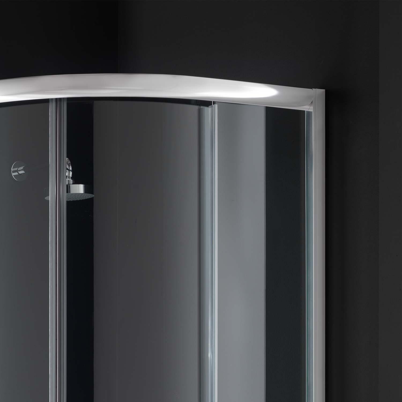 Cabine paroi douche semi circulaire 90x90 h200 cm verre for Fenetre 90x90