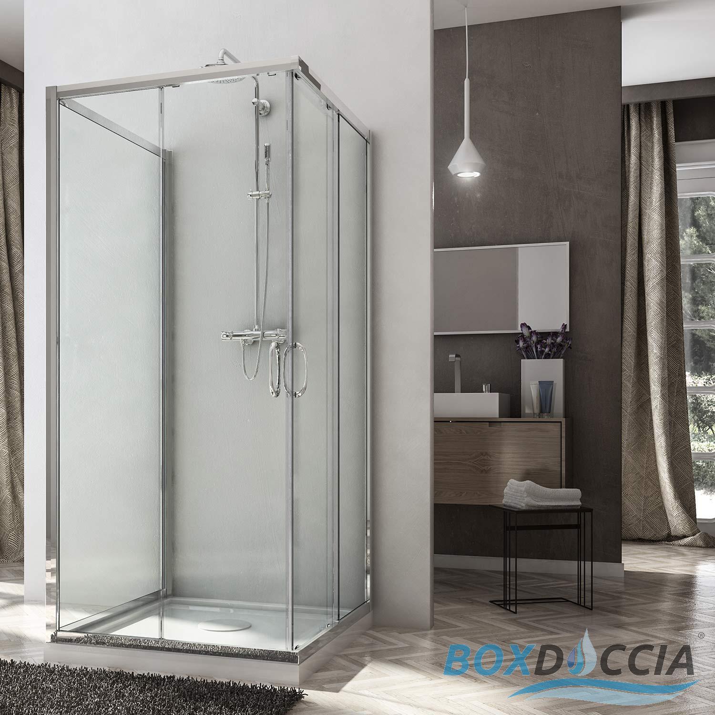 Cabine douche ouverture coulissante verre 6mm paroi fixe 3 c t s mod le junior ebay - Cabine de douche 3 cotes vitres ...