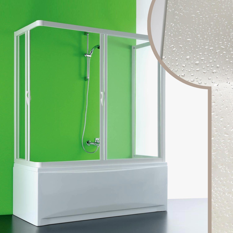 Box doccia sopra vasca 80x170x80 cm 3 lati pvc crilex - Box doccia chiuso sopra ...