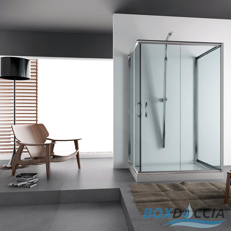 Cabine paroi douche 3 cotes bain ouverture angulaire verre coulissant italienne - Cabine de douche 3 cotes vitres ...