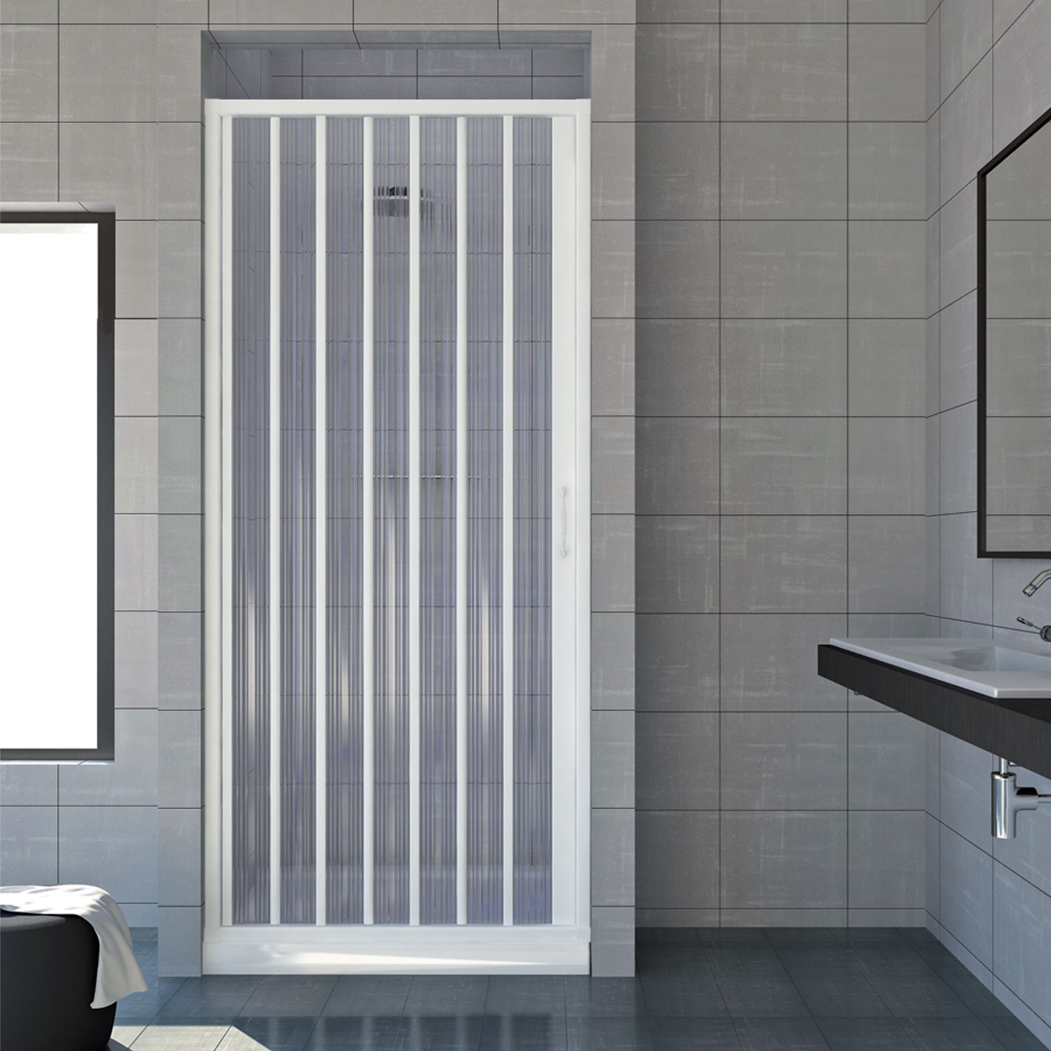 shower enclosure walk in plastic pvc folding doors panel side opening ebay. Black Bedroom Furniture Sets. Home Design Ideas
