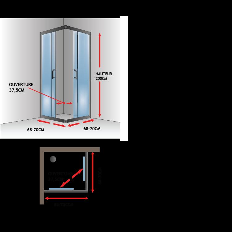 Cabine paroi douche 70x70 h200 cm verre transparent - Porte coulissante en verre transparent ...