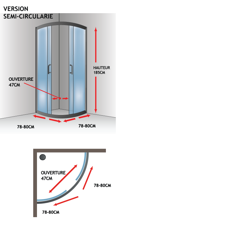 Cabine paroi douche semi circulaire 80x80 h185 cm verre - Porte coulissante en verre transparent ...